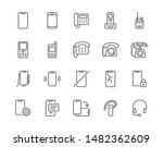 Phone flat line icons set. Smartphone, landline telephone, portable device, walkie talkie, broken display vector illustrations. Outline signs technology store. Pixel perfect. Editable Strokes.