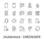 phone flat line icons set.... | Shutterstock .eps vector #1482362609