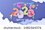 2020 new year design card with... | Shutterstock .eps vector #1482364376