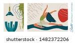 ballet dancer girl poster set....   Shutterstock .eps vector #1482372206