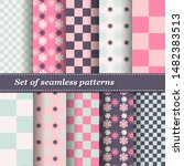 set of trendy seamless floral... | Shutterstock .eps vector #1482383513