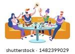 friends meeting in sushi bar....   Shutterstock .eps vector #1482399029
