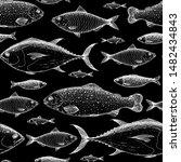 fish seamless pattern. hand... | Shutterstock .eps vector #1482434843
