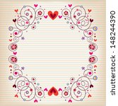 Hearts And Flowers Frame On...