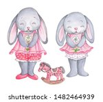 Stock photo cute watercolor cartoon toy bunny rabbit hare girls with toy horse isolated on white hand painted 1482464939