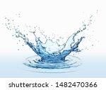 Water Splash Isolated On White...