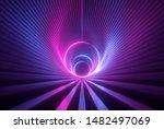 3d Render  Pink Violet Neon...