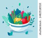bowl full of vegetables vector... | Shutterstock .eps vector #1482518510