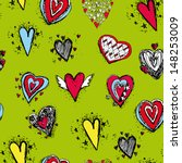 vector seamless pattern of heart | Shutterstock .eps vector #148253009
