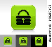 padlock icon set. green glossy...