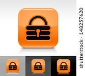 padlock icon set. orange glossy ...