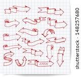 red pen sketch arrows... | Shutterstock .eps vector #148257680