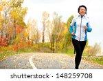 mature asian woman running... | Shutterstock . vector #148259708