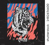 Illustration Of A Tiger With...