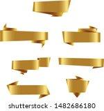 gold origami ribbon set... | Shutterstock .eps vector #1482686180