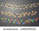 christmas lights. xmas string ... | Shutterstock .eps vector #1482699056