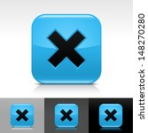 delete icon set. blue color...