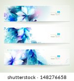 set of three floral headers  | Shutterstock .eps vector #148276658