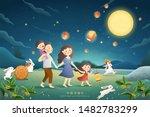 cute mid autumn festival poster ... | Shutterstock . vector #1482783299