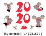 red numbers on white background.... | Shutterstock .eps vector #1482816176