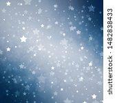 White stars on blue hazy space background, white shining glitter stars for July 4th , veteran