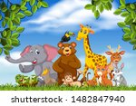 cute bunch of animals in nature ...   Shutterstock .eps vector #1482847940