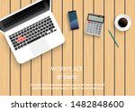 realistic workplace desktop.... | Shutterstock .eps vector #1482848600