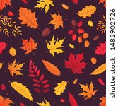 flying autumn leaves on black... | Shutterstock .eps vector #1482902726