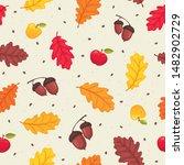 flying autumn leaves  apples... | Shutterstock .eps vector #1482902729