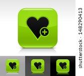 heart icon set. green color...