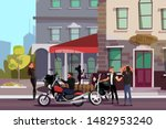 biker gang outside bar flat... | Shutterstock .eps vector #1482953240