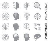 brain icons. gray flat design.... | Shutterstock .eps vector #1482978560