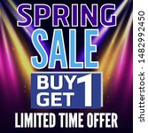 spring sale. sale banner and... | Shutterstock . vector #1482992450