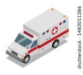 isometric ambulance van.... | Shutterstock .eps vector #1483011386