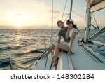 romantic proposal scene on yacht | Shutterstock . vector #148302284