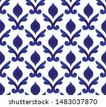 ceramic Thai pattern, Japan and China seamless porcelain blue and white modern background, pottery wallpaper indigo Islamic style, chinaware design, Silk and fabric texture decor, Gzhel design vector