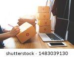 online selling e commerce... | Shutterstock . vector #1483039130
