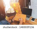 online selling e commerce... | Shutterstock . vector #1483039136
