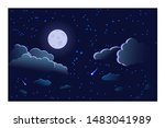 night sky panorama of the moon... | Shutterstock .eps vector #1483041989