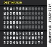 airport flip board panel with... | Shutterstock .eps vector #1483045319