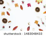 top view autumn leaves on white ...   Shutterstock . vector #1483048433