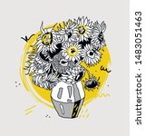 sunflowers by vincent van gogh. ... | Shutterstock .eps vector #1483051463