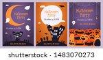 set of halloween party... | Shutterstock .eps vector #1483070273