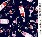 wine pattern. fashion seamless... | Shutterstock .eps vector #1483072403