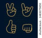 set of glowing neon hand emoji... | Shutterstock .eps vector #1483075850