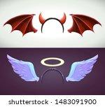 angel and devil decor elements. ... | Shutterstock .eps vector #1483091900