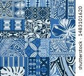 polynesian tapa cloth patchwork ... | Shutterstock .eps vector #1483101620