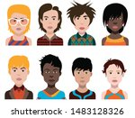 people avatars. vector women ... | Shutterstock .eps vector #1483128326