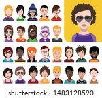 people avatars. vector women ... | Shutterstock .eps vector #1483128590