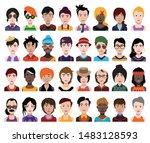 people avatars. vector women ... | Shutterstock .eps vector #1483128593